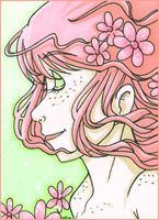 ACEO - 046 - Pink Daisies by tea-bug