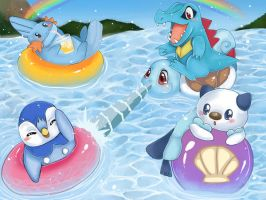 Water starters by Butterfly-Kitsune