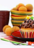 Lemon Cupcake w/ Milk Chocolate Frosting by theresahelmer