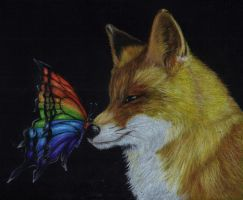 butterfly on fox's nose by Aillese