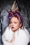 Hand-dyed grizzly and pheasant feather headpiece by Genevieve-Amelia
