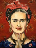 A Joyful Exit, A Portrait of Frida Kahlo In Acryli by noveltydoll