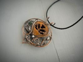 Thistle - wire copper pendant by UrsulaOT