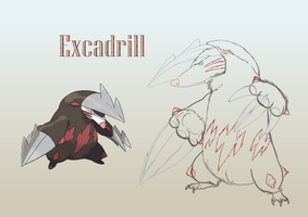 Excadrill Realistic lineart by Weirda208