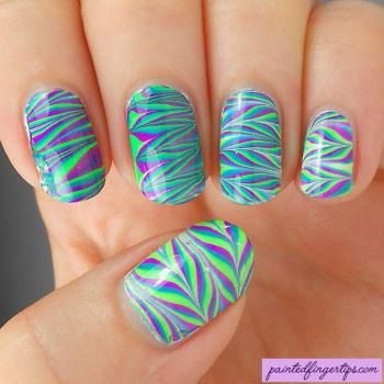 Purple-green-teal-neon-water-marble-nails by Painted-Fingertips