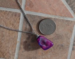 Wire Wrapped Galaxy Geode Necklace by kittykat01
