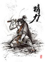 Samurai with calligraphy, Vitality by MyCKs