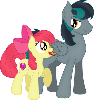 Black Gryph0n's OC and Apple Bloom by SoulAkai41