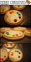 Artist Palette Christmas Cookies by Artisticaviary