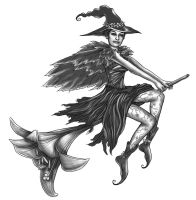 Witch Tattoo by The-Mirrorball-Man