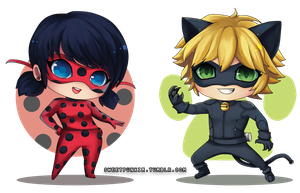 Chibi Ladybug and Cat Noir! ~ by MoonlightTheWolf