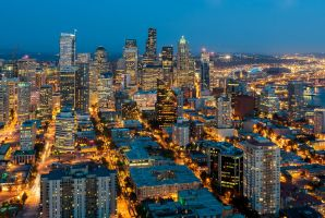 Seattle at Night by TomGreenPhotos