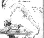 Champsosaurus and Rauisuchid sketch by 8bitAviation