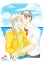 At the beach with Senpai by milostudio