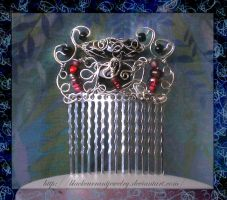 Comb with Red Beads by blackcurrantjewelry