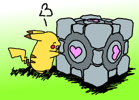 Pikachu and the Companion Cube by darkelitist