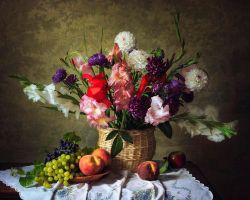 Still life with flowers and fruit garden by Daykiney