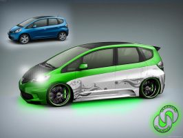 Green Honda Fit by stanley94