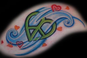 heart-shaped peace sign tattoo by joshing88
