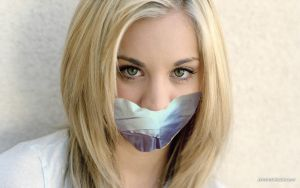 Kaley Cuoco tape gagged by FearTheTaper