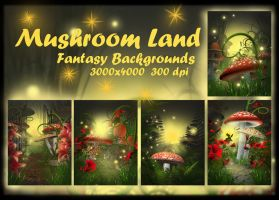 Mushroom Land backgrounds by KlaraKay
