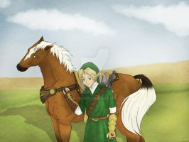 Link and Epona- Colored Old Paper by a-ka-neArt