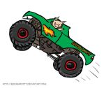 Piggy In A Monster Truck by erikabarcott