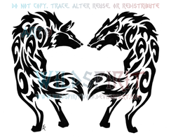Love And Hate Tribal Wolves by WildSpiritWolf