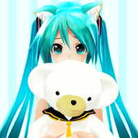 Cute Miku n' Her Teddy Len by Crystallyna