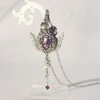 Winged Necklace with Amethyst-inset Locket by uenkii