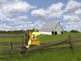 Appejack Visiting an Old Farm by WerdKcub