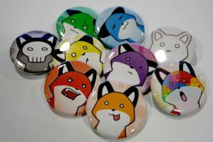 Rainbow StupidFox Pin Set by SilentReaper