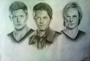 Castiel and the Winchester brothers by naeerr