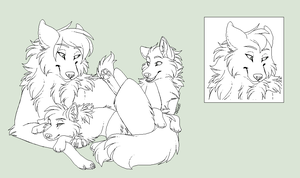Mother and Pups Lineart by Lerynn