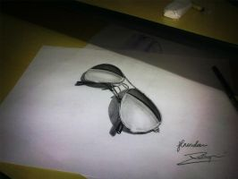 3D Drawing -  Chrome Rayban by JhordanDesign