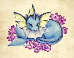 Seasons of Eevee - Vaporeon and Colchiums by juugatsuhoshi
