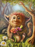 Little troll, lover of flowers by Vilenchik