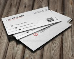 Clean White Corporate Business Card by GreyFoxGR