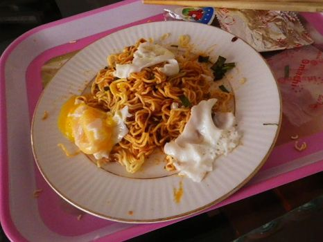 Omachi noodles with egg by Katene