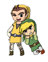 Toon Link and Pipit by Aeroire