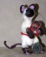 Felted Siamese Cat by bigcatdesigns