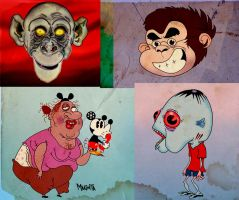 2 Monkey heads and 2 freaks by Makinita