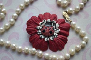 Ladybug Flower Hair clip Product Photography by blueangel06661