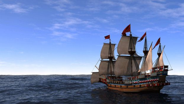 'Swiftsure' at Sea, 1585 by DeviantKaled