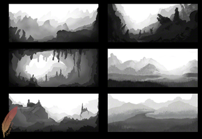 SchoolWork]Sketched Matte Paintings by Amura-Of-Jupiter