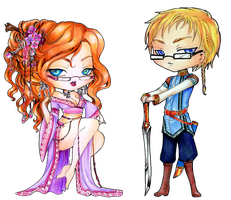 - COMMISSION - Chibi Selene and Shamael II - by ooneithoo