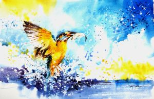Speed Painting - Kingfisher by Abstractmusiq