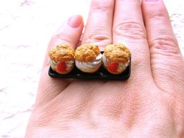 3 Cream Puffs Ring by souzoucreations