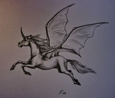 flying unicorn by wildelbenreiter