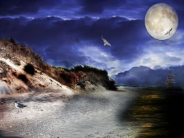 Pre-Made Seascape Background by FairieGoodMother